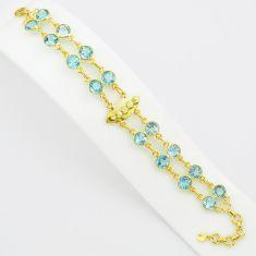 925 sterling silver 19.62cts natural blue topaz 14k gold tennis bracelet p75090