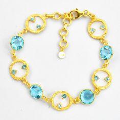 925 sterling silver 14.03cts natural blue topaz 14k gold tennis bracelet p87509