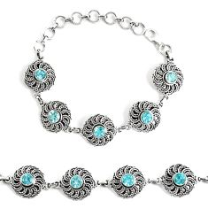 925 sterling silver 5.21cts natural blue topaz tennis bracelet jewelry p48200