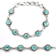 925 sterling silver 9.18cts natural blue topaz tennis bracelet jewelry p92999