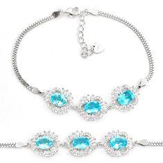 925 sterling silver 11.01cts natural blue topaz topaz tennis bracelet c2264