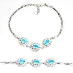 925 sterling silver 10.74cts natural blue topaz topaz tennis bracelet c2284