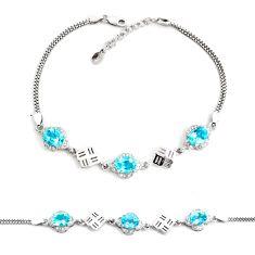 925 sterling silver 9.91cts natural blue topaz topaz tennis bracelet c2304