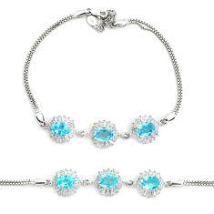 925 sterling silver 10.67cts natural blue topaz topaz tennis bracelet c2325