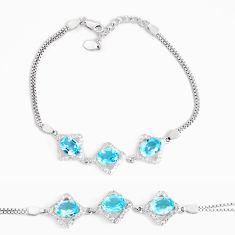 925 sterling silver 8.14cts natural blue topaz topaz tennis bracelet c2498