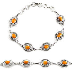 925 sterling silver 9.72cts natural brown tiger's eye tennis bracelet p65108
