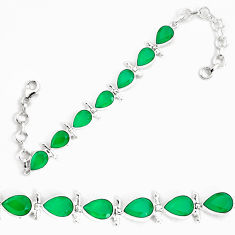 925 sterling silver 21.22cts natural green chalcedony tennis bracelet p34644