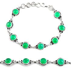 925 sterling silver 19.04cts natural green chalcedony tennis bracelet p65104