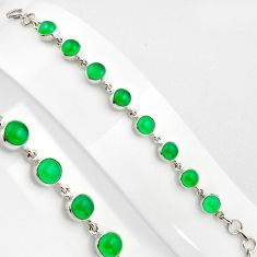 925 sterling silver 19.57cts natural green chalcedony tennis bracelet p89144