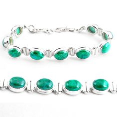 925 sterling silver 38.06cts natural green chrysocolla tennis bracelet p41032