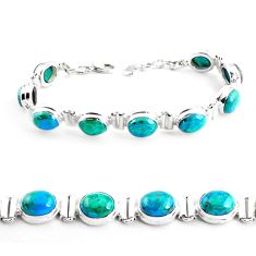 925 sterling silver 36.16cts natural green chrysocolla tennis bracelet p41036