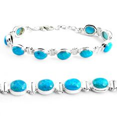 925 sterling silver 33.19cts natural green chrysocolla tennis bracelet p41037