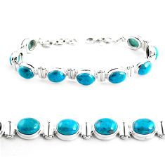 925 sterling silver 38.72cts natural green chrysocolla tennis bracelet p41039