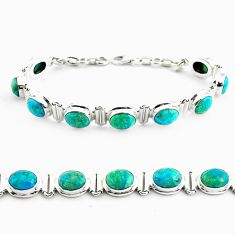 925 sterling silver 28.37cts natural green chrysocolla tennis bracelet p70728