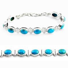 925 sterling silver 31.04cts natural green chrysocolla tennis bracelet p70732