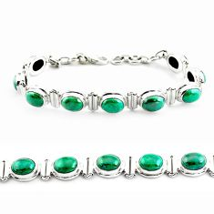 925 sterling silver 31.04cts natural green chrysocolla tennis bracelet p70736