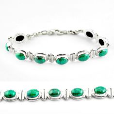 925 sterling silver 32.11cts natural green chrysocolla tennis bracelet p70738
