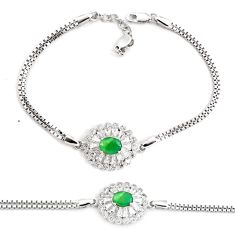 925 sterling silver 5.83cts natural green emerald topaz tennis bracelet c2333
