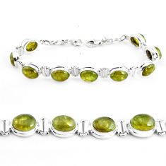 925 sterling silver 37.60cts natural green garnet tennis bracelet p40004