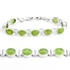 925 sterling silver 38.27cts natural green garnet tennis bracelet p40013
