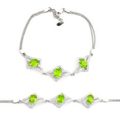 925 sterling silver 11.21cts natural green peridot topaz tennis bracelet c2288