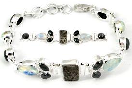 925 sterling silver natural grey meteorite gun metal moonstone bracelet h93000