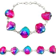 925 sterling silver natural multi color solar quartz slice druzy bracelet h88034