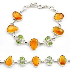 925 sterling silver 40.18cts natural multi color tourmaline bracelet p76731