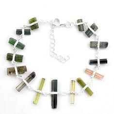 925 sterling silver 19.92cts natural multicolor tourmaline rough bracelet p43478