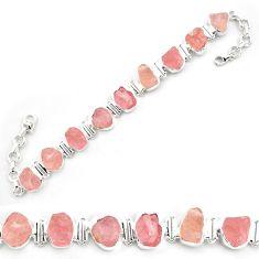 925 sterling silver 44.46cts natural pink morganite rough tennis bracelet p69064