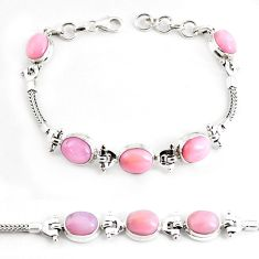 925 sterling silver 19.17cts natural pink opal tennis bracelet jewelry p54684