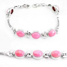 925 sterling silver 21.72cts natural pink opal tennis bracelet jewelry p54731