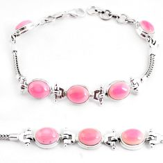 925 sterling silver 22.34cts natural pink opal tennis bracelet jewelry p54736
