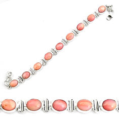 925 sterling silver 39.31cts natural pink opal tennis bracelet jewelry p70689