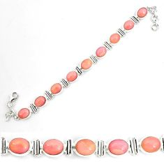 925 sterling silver 39.29cts natural pink opal tennis bracelet jewelry p70693