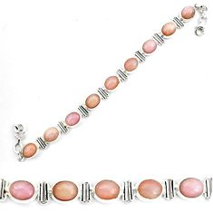 925 sterling silver 39.96cts natural pink opal tennis bracelet jewelry p70698