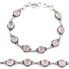 925 sterling silver 18.70cts natural pink rose quartz tennis bracelet p65169