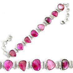 925 sterling silver 40.17cts natural pink tourmaline tennis bracelet p34534