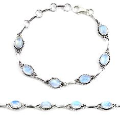 925 sterling silver 9.03cts natural rainbow moonstone tennis bracelet p65140