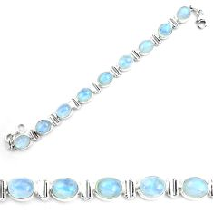 925 sterling silver 41.06cts natural rainbow moonstone tennis bracelet p72979