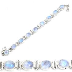925 sterling silver 29.20cts natural rainbow moonstone tennis bracelet p87859