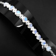 925 sterling silver 31.71cts natural rainbow moonstone tennis bracelet p89648