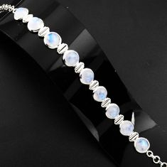 925 sterling silver 29.25cts natural rainbow moonstone tennis bracelet p89660