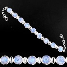 925 sterling silver 30.11cts natural rainbow moonstone tennis bracelet p92884