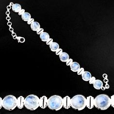 925 sterling silver 29.68cts natural rainbow moonstone tennis bracelet p92890