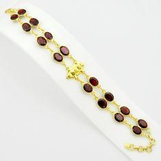 925 sterling silver 40.22cts natural red garnet 14k gold tennis bracelet p75097