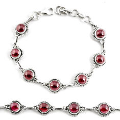925 sterling silver 19.02cts natural red garnet round tennis bracelet p68085