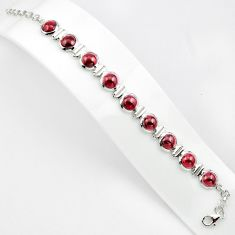 925 sterling silver 27.91cts natural red garnet round tennis bracelet p81471