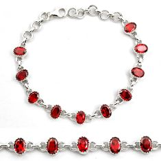 925 sterling silver 15.72cts natural red garnet tennis bracelet jewelry p82598