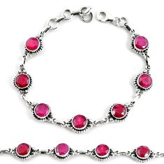 925 sterling silver 18.72cts natural red ruby tennis bracelet jewelry p68060